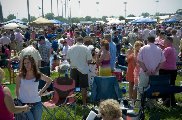 Crowd shot in the infield on Kentucky Oaks Day
