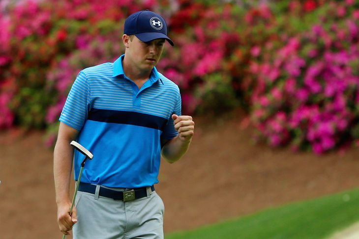 21-year-old Jordan Spieth was one stroke above lowest 18-hole score in Masters tournament history with an eight-under 64 and the lead after day one.