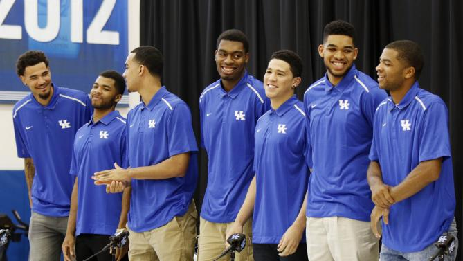 Kentucky's seven leading scorers from the 2014-15 season declared for the NBA Draft yesterday (L-R: Willie Cauley-Stein, Andrew Harrison, Trey Lyles, Dakari Johnson, Devon Booker, Karl-Anthony Towns, Aaron Harrison)