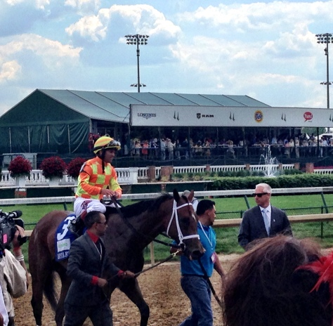 Javier Castellano aboard Dame Dorothy following her victory in the Humana Distaff at Churchill Downs (John Cox photo)