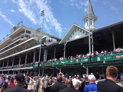 The crowd at Churchill Downs following Finnegan's Wake's win (John Cox photo)