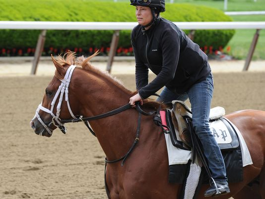 Peter Pan Stakes-winner Madefromlucky training at Belmont Park Friday morning (Susie Raisher/NYRA photo)