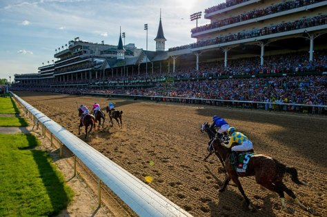 American Pharoah, Firing Line and Dortmund separated themselves from the field down the home stretch at the Kentucky Derby (Credit Andrew Hancock for The New York Times).