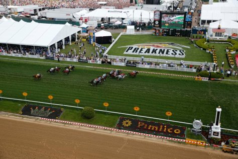 May 17, 2014; Baltimore, MD, USA; An overall view of the track during the sixth race of the day before the 139th Preakness Stakesat Pimlico Race Course. Mandatory Credit: Winslow Townson-USA TODAY Sports