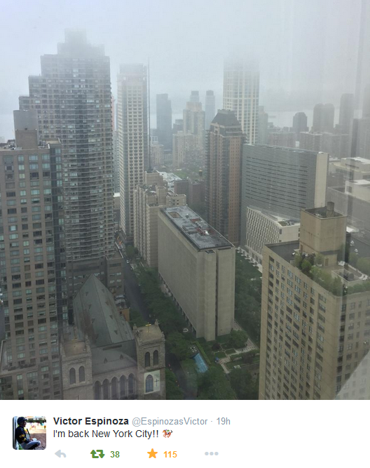According to his Twitter feed, Espinoza arrived in the Big Apple on Monday, June 1.