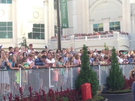 Fans looking for American Pharoah in the Churchill Downs paddock (John Cox photo)