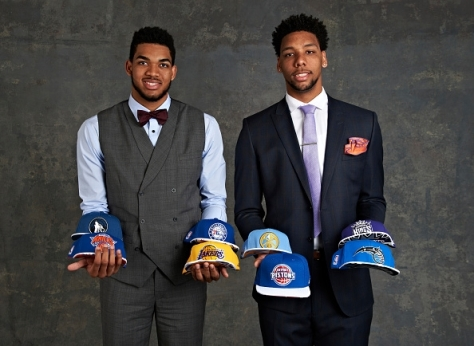 Kentucky's Karl Anthony-Towns and Duke's Jalil Okafor posing prior to the 2015 NBA Draft Lottery drawing
