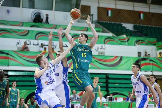 Isaac Humphries (15) and Australia took on Greece during the 2014 FIBA U17 World Championship in Dubai, United Arab Emirates. (FIBA photo)