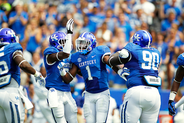 PHOTO COURTESY: KENTUCKY SENIOR SAFTEY A.J. STAMPS (1) VS. UT MARTIN (2014)