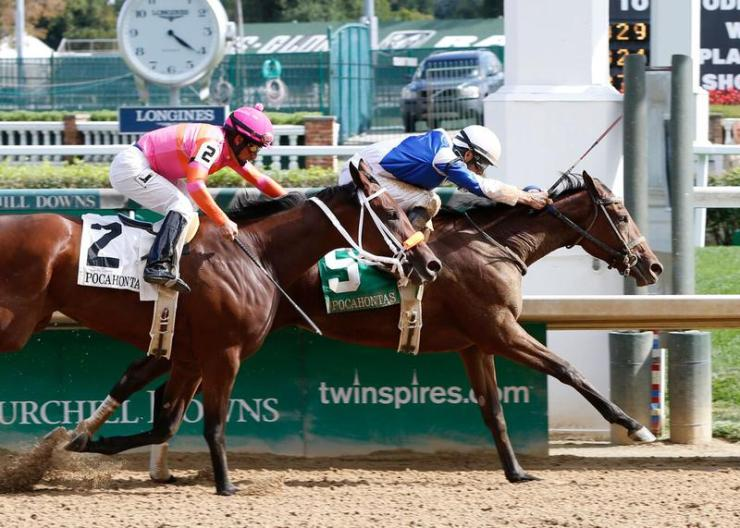Dothraki Queen winning the Pocahontas (G2) at Churchill Downs on Sept. 12 over Dream Dance (Churchill Downs photo)
