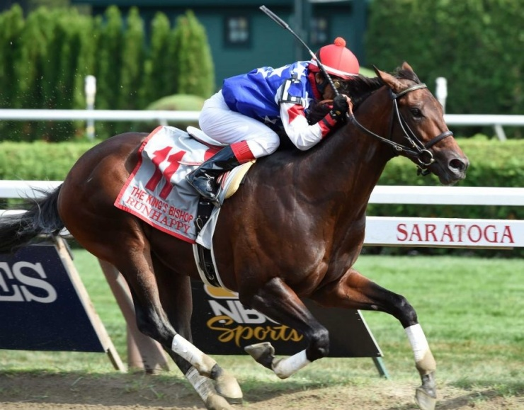 Runhappy winning the King's Bishop (G1) at Saratoga on Aug. 29 (Skip Dickstien photo)