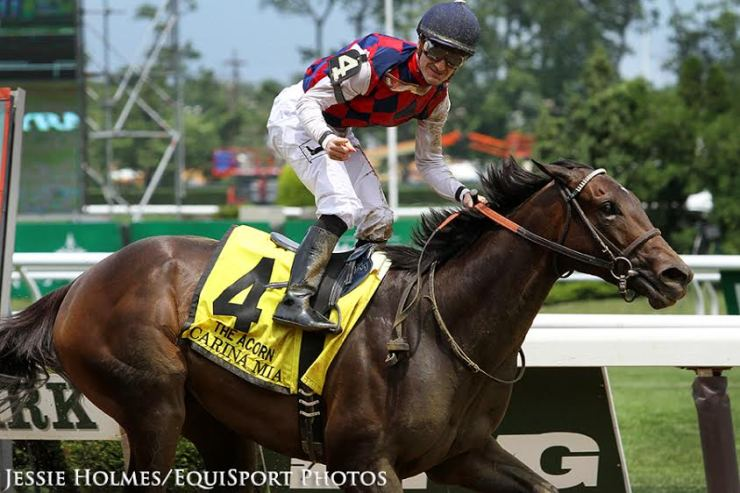 Carina Mia (Malibu Moon) and jockey Julien Leparoux win the Acorn (Gr I) at Belmont Park 6/11/16 (Jessie Holmes/Equisport Photo)