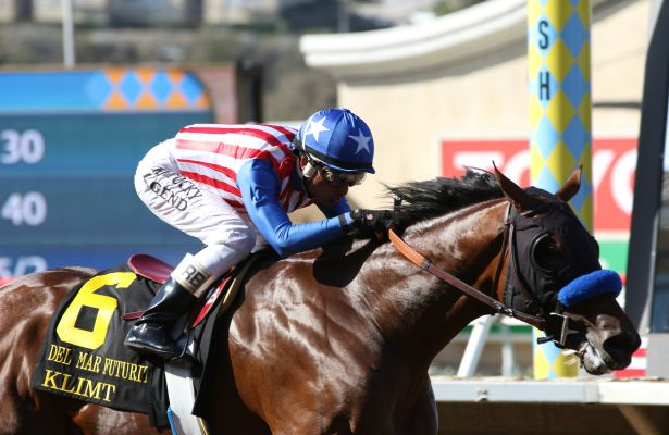 DEL MAR, CA  SEPTEMBER 5: #6 Klimt ridden by Rafael Bejarano wins the Del Mar Futurity (G1) on September 5, 2016 at Del Mar, CA (Photo by Casey Phillips/Eclipse Sportswire/Getty Images)
