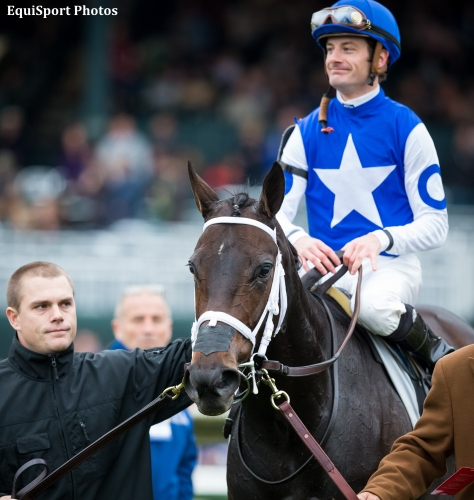 Tepin (Bernstein), Julien Leparoux up, wins the First Lady (G1) at Keeneland 10.03.15. Triener: Mark Casse, Owner: Robert Masterson.
